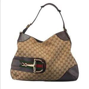 Gucci Horsebit Hasler Leather Biege Canvas Bag